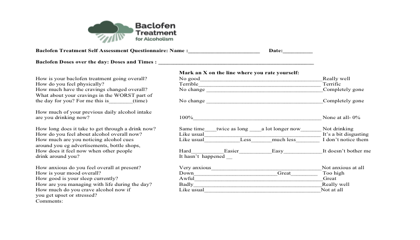 Baclofen TreatmentSelfEvaluationQuestionnaire